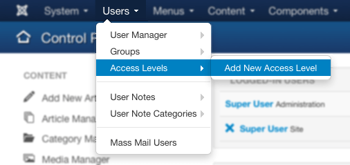 Creating a new access level for Domus Organizer